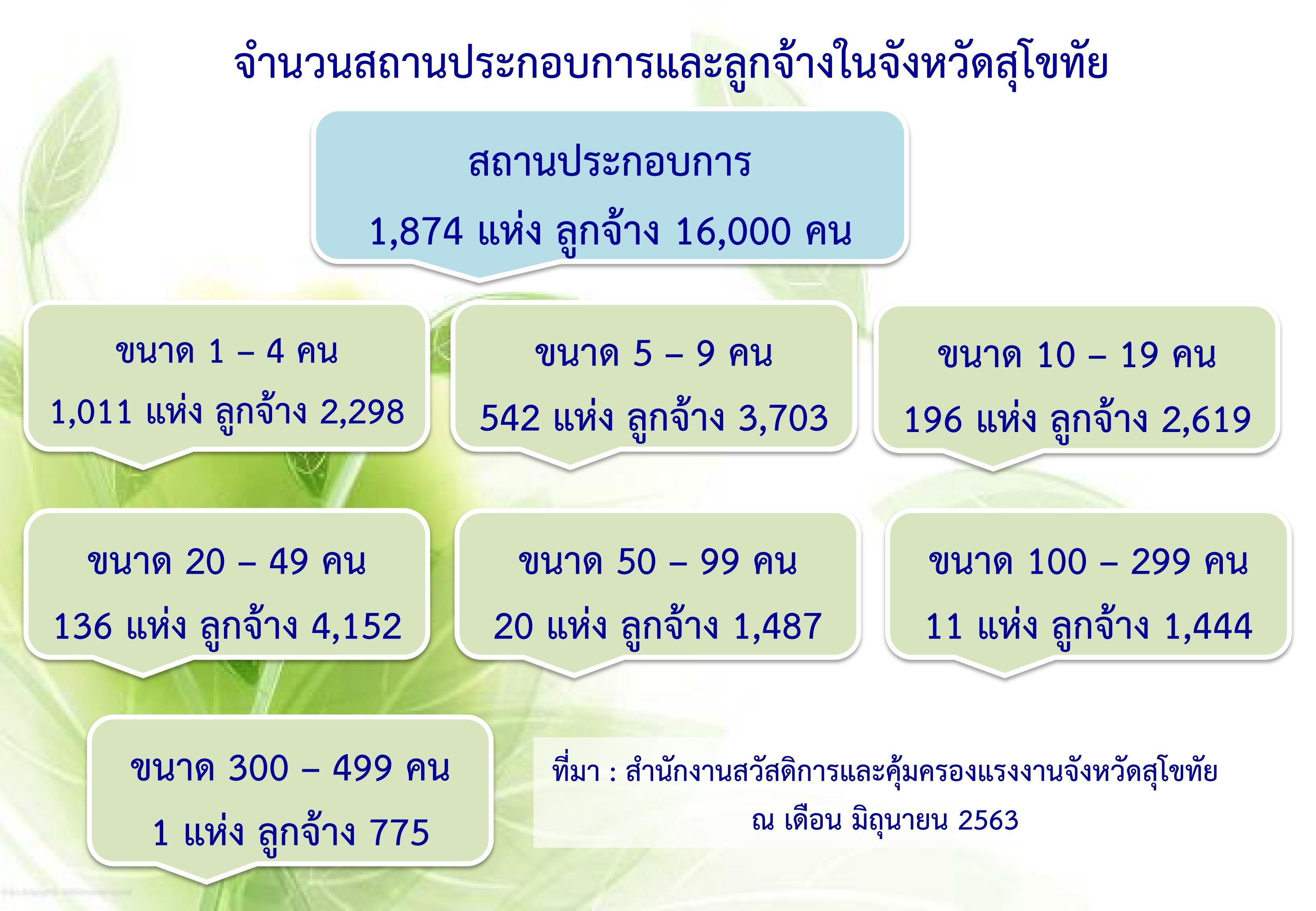 จำนวนสถานประกอบการและลูกจ้างในจังหวัดสุโขทัย